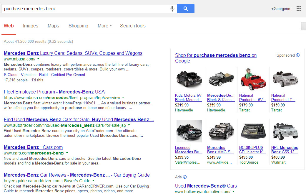 "Query for ""purchase mercedes benz"""